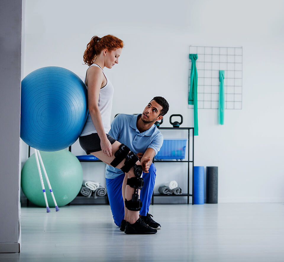 woman doing physical therapy exercise